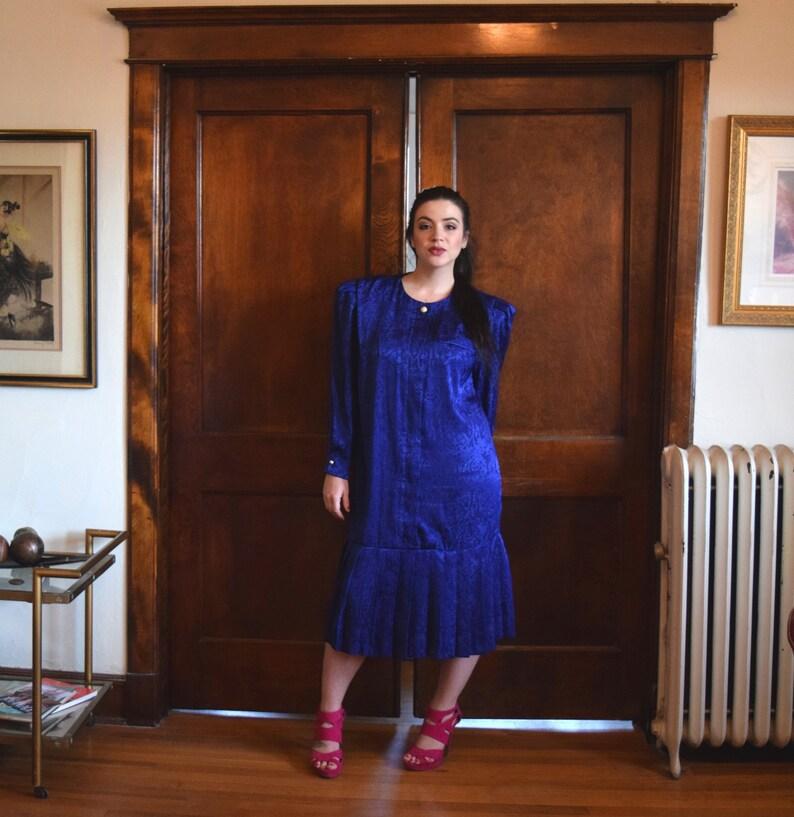 80s Prom Dress Plus Size Dress Blue Dress Drop Waist | Etsy