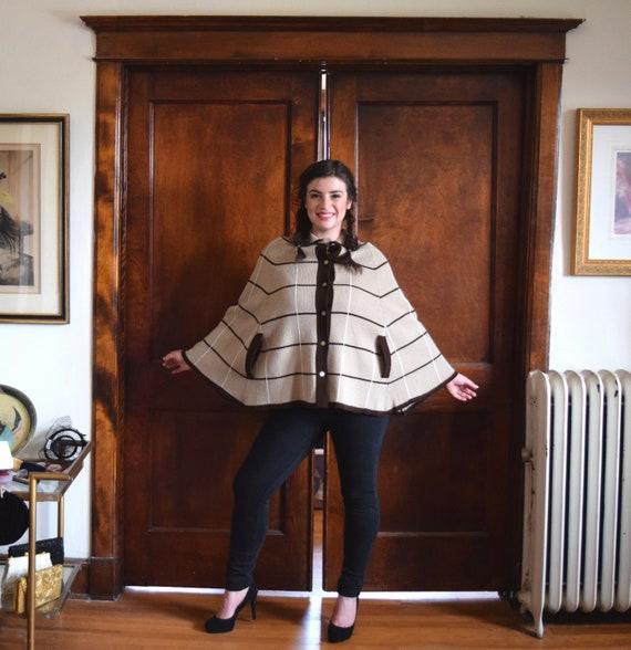 Brown Cape   Striped Cape   Short Cape Coat   Knit