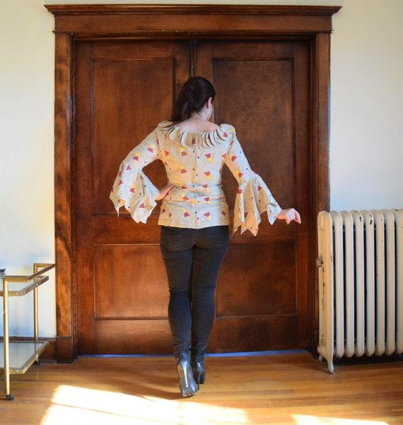 Bell Sleeve Blouse | Linen Blouse | Beige Blouse … - image 6