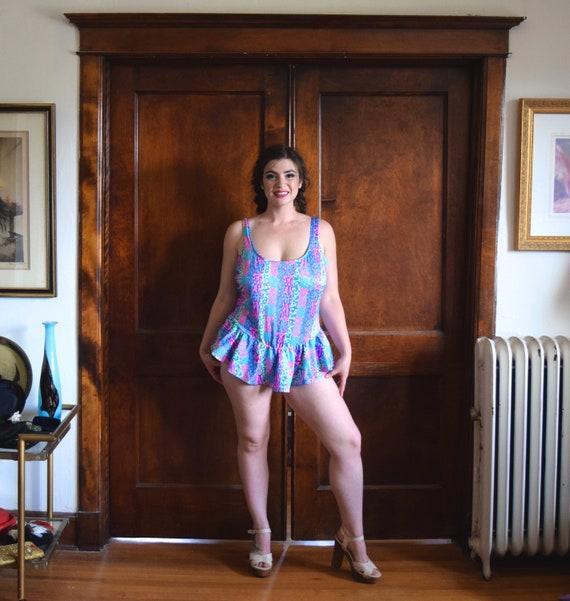 90s Swimsuit | Neon Swimsuit | Skirted Swimsuit |