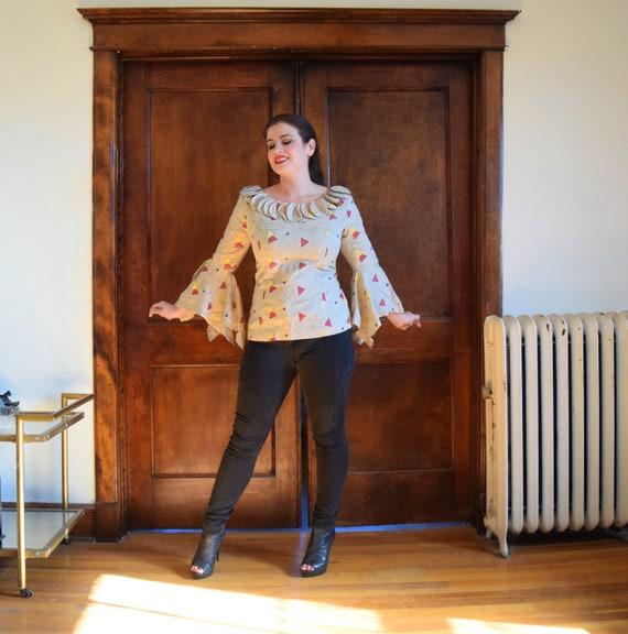 Bell Sleeve Blouse | Linen Blouse | Beige Blouse … - image 3