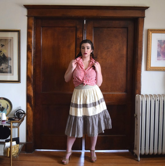 Checkered Skirt   70s Skirt   Cotton Skirt   Tiere