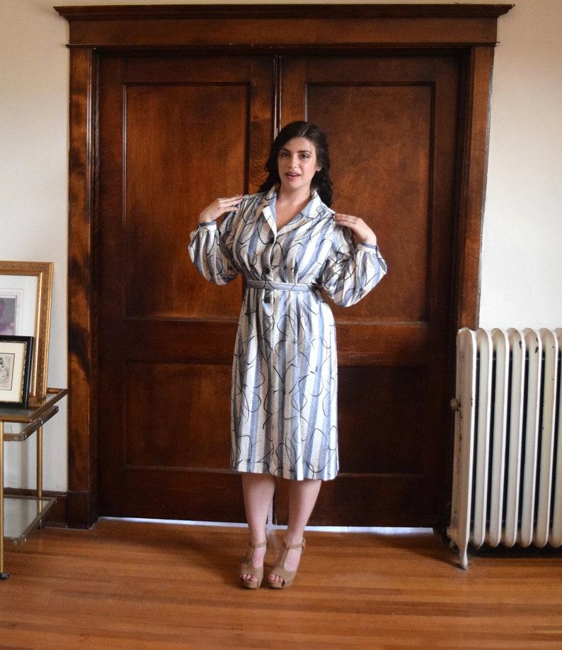 80s Plus Size Dress | Gray Dress | Striped Dress | Floral Dress Boho |  Tunic Dress with Sleeves | XXLarge Dress XXL | Size 2X Dress 2X