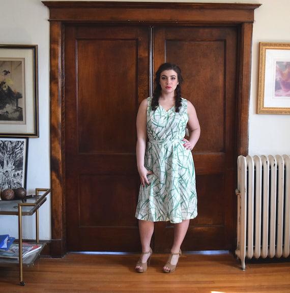 60s Dress   Green Dress   Brushstroke Print Dress