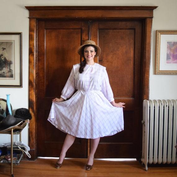 White Dress   Pastel Plaid Dress   80s Dress   50s