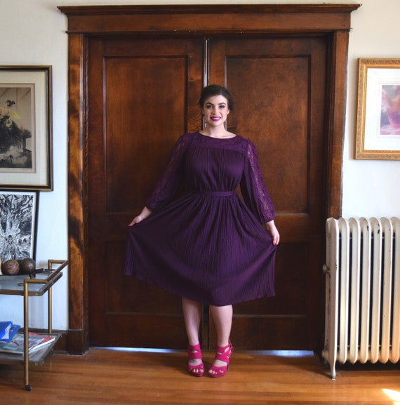 70s Dress | Plum Purple Dress | Lace Dress with Sleeves | Plus Size Dress |  Size XXLarge Dress XXL | Size 20 Dress 2X |NWT Vintage Dress NOS