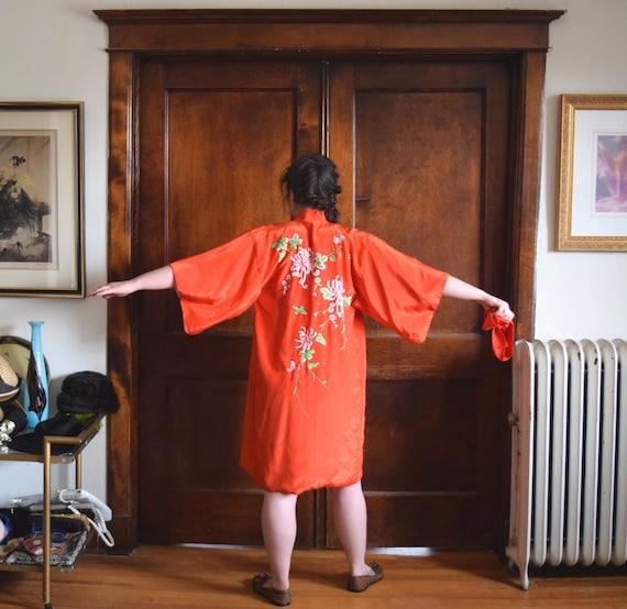 Orange Kimono | Short Kimono | Spider Mum Kimono |