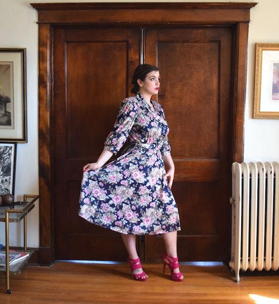 80s Dress | Blue Dress | Floral Dress | 40s Dress… - image 4