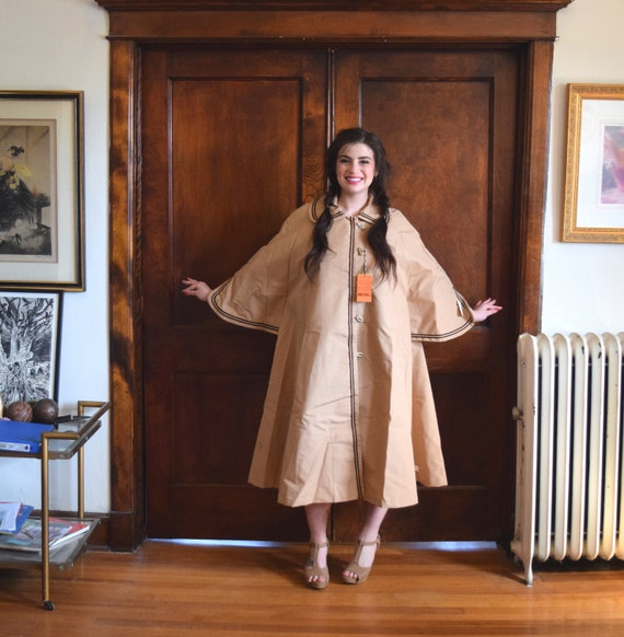Beige Swing Coat | 60s Jacket | Tan Raincoat with