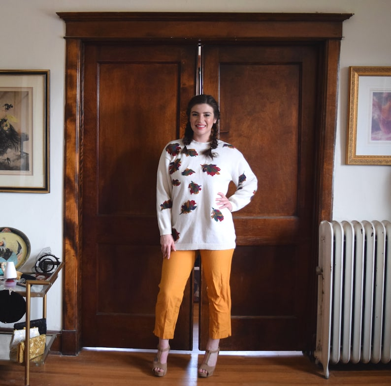 Size Large Sweater L Leaf Sweater Size 12 Sweater Vintage Oversized Sweater Thanksgiving Sweater 80s Sweater Fall Sweater