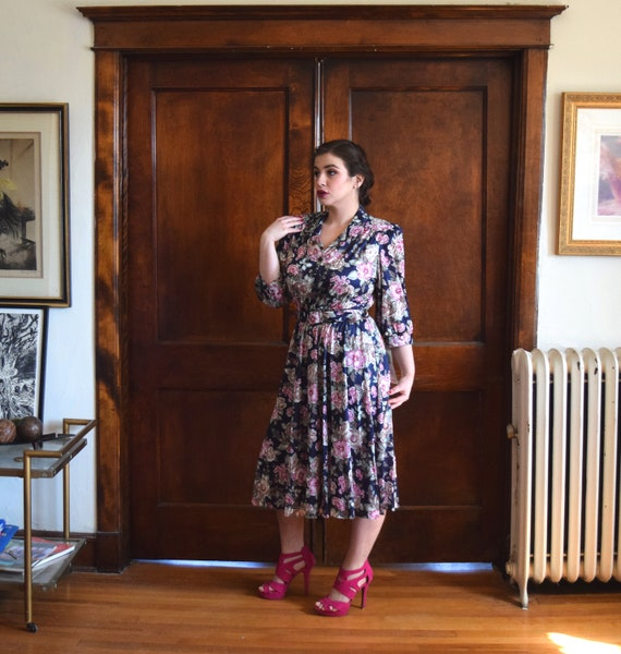 80s Dress | Blue Dress | Floral Dress | 40s Dress… - image 8
