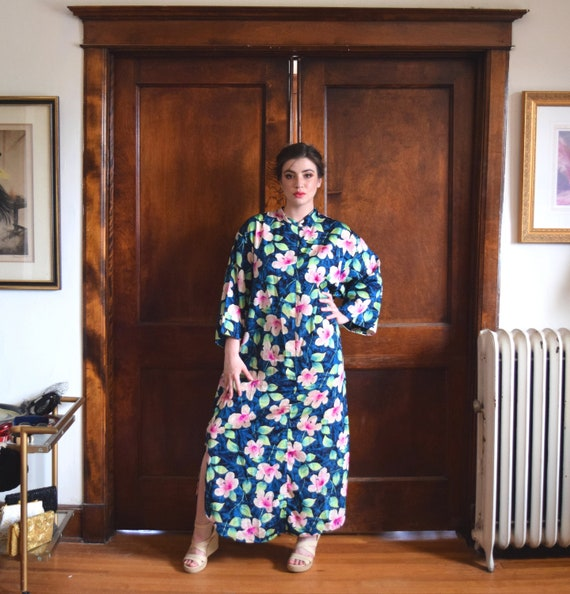 Blue Robe | Floral Robe | Zipper Up Robe | Plus Si