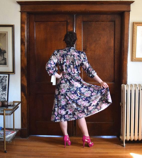 80s Dress | Blue Dress | Floral Dress | 40s Dress… - image 6