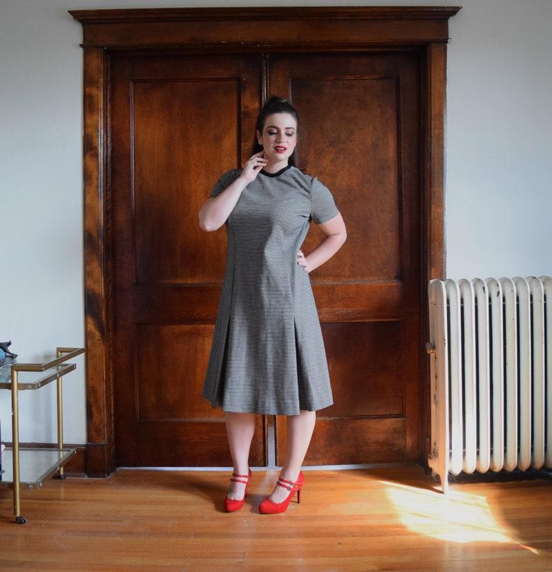 60s Dress Plus Size Dress Black Dress Houndstooth Print | Etsy