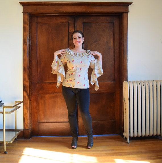 Bell Sleeve Blouse | Linen Blouse | Beige Blouse |