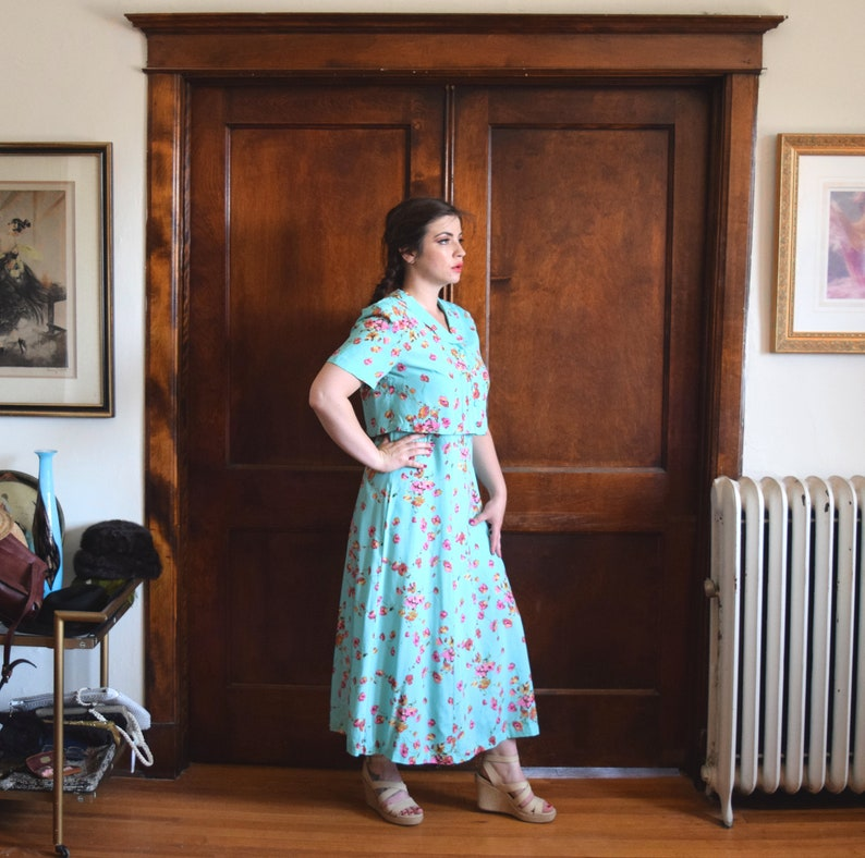 Size Large Dress L Mint Green Dress Size 12 Dress 80s Dress Midi Dress Full Length Dress 40s Dress Maxi Dress Floral Dress