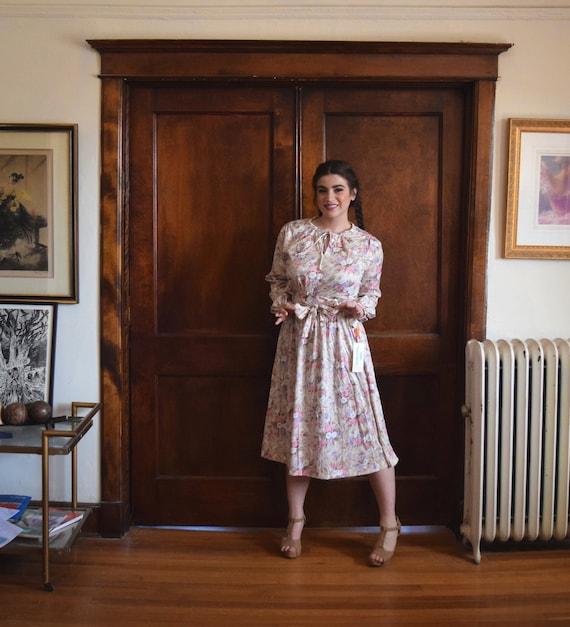 70s Dress   Beige Dress   Floral Dress   Long Slee