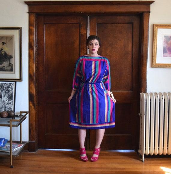 60s Dress   Blue Dress   Striped Dress   Modest Dr