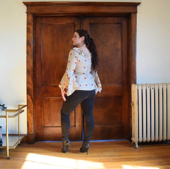 Bell Sleeve Blouse | Linen Blouse | Beige Blouse … - image 5
