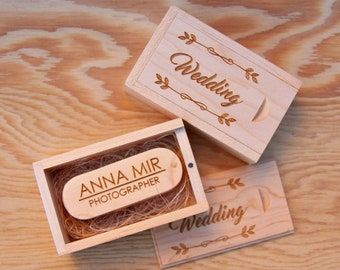 Maple USB Flash Drive and Wood Box Set, Custom Engraved Wooden Box, Personalized Wedding Gift, Newborn Family Photography Usb Packaging