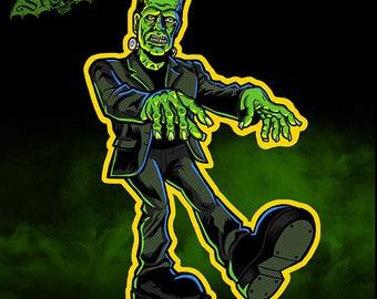 Small Frankenstein Vintage Style Halloween Die Cut Decoration