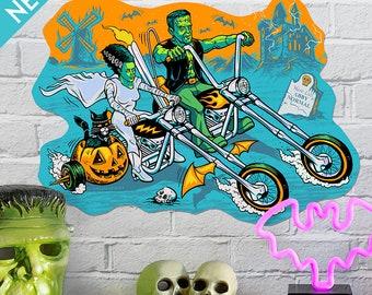 Chopper Steins Vintage Style Halloween Die Cut Decoration