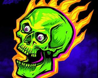 Vintage Flaming Skull Halloween Die Cut Decoration
