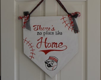 """Reds Baseball """"No Place Like Home"""" Door Hnager"""