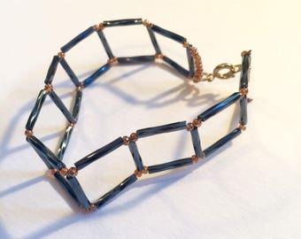Denim Glass Ladder Bracelet