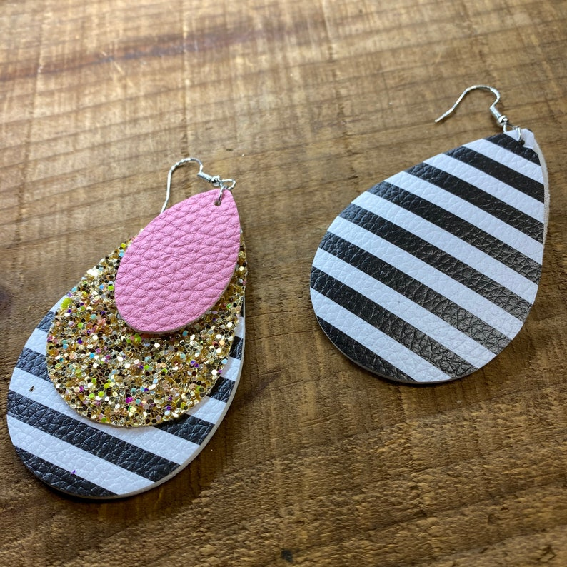 Faux Leather Pink and Glitter Leather Earrings Layered Leather Earrings Women Teardrop Leather Earrings Black and White Earrings