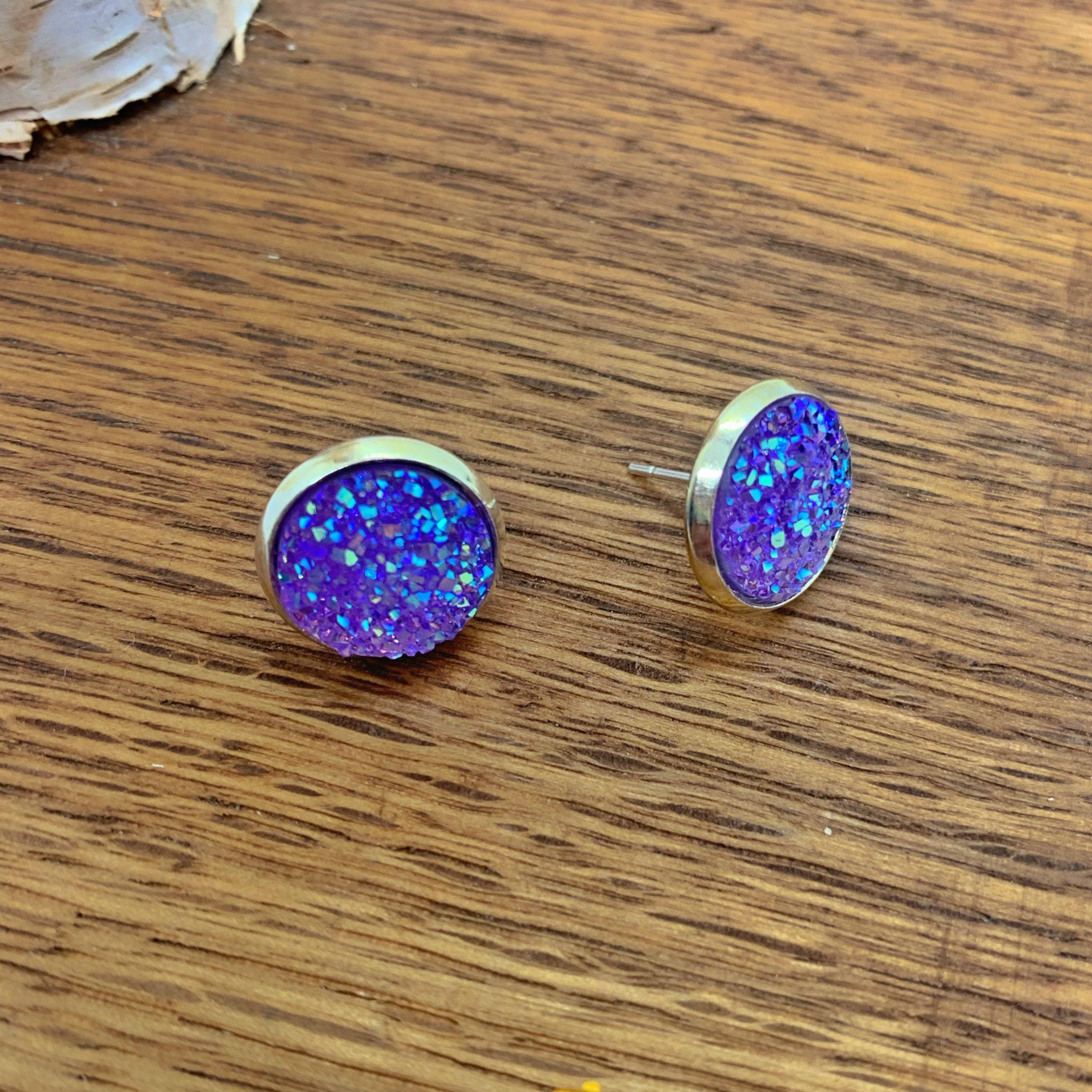 Purple druzy earrings 12mm stud