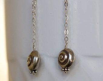 Hill Tribe silver dangle earrings nautilus bead sterling silver earrings Hill Tribe silver jewelry