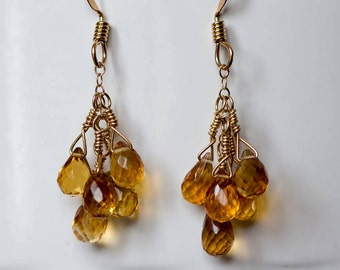citrine briolette dangle earrings beaded jewelry gemstone jewelry gifts for her November birthstone Valentine's Day gifts
