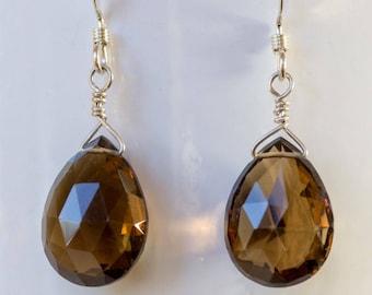 smoky quartz briolette earrings dangle earrings brown earrings gifts for women beaded jewelry smoky quartz jewelry handmade jewelry