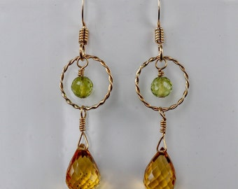ae976d744 citrine briolettes with peridot gemstones and gold fill dangle earrings,  citrine and peridot jewelry, November birthstone, August birthstone