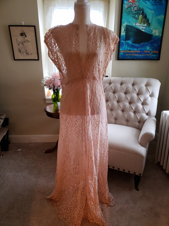 1930's Pink Lace Evening Gown
