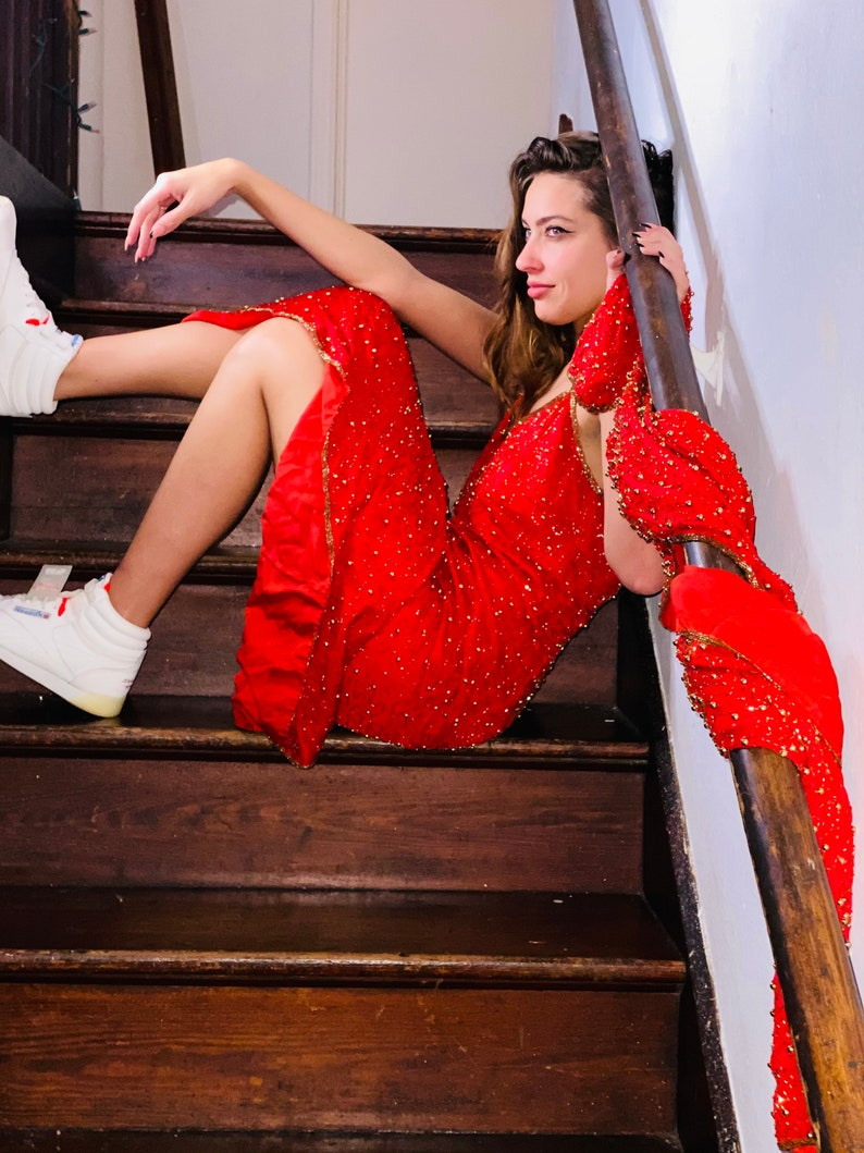 Vintage 80s red sequin beaded silk gown and jacket
