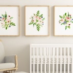 Set of 3 floral watercolor Wall Printables, Girls Nursery Floral Wall Art, Nursery Floral Prints, Watercolor Flowers, Floral Bouquets Prints