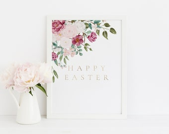 Happy Easter Wall Art Printable, Easter Wall Decor Print, 8x10 Easter Printable, PDF, Instant Download Easter Printable, Wall Art Easter