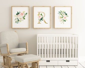 Set of 3 Letter R Floral Watercolor Wall Printables, Girls Gold Letter R, Nursery Floral Prints, Watercolor Flowers, Floral Bouquets Prints