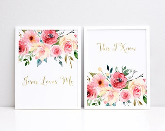 Jesus Loves Me This I know Printable, Christian Printable, Floral Printable, Girls Nursery Printable, Watercolor Flowers Printable