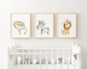 Cute Woodlands Baby Wall Art Printable, Printable Wall Decor, Watecolor Flower Crowns, Cute Woodlands, Floral Crowns on Woodland Animals