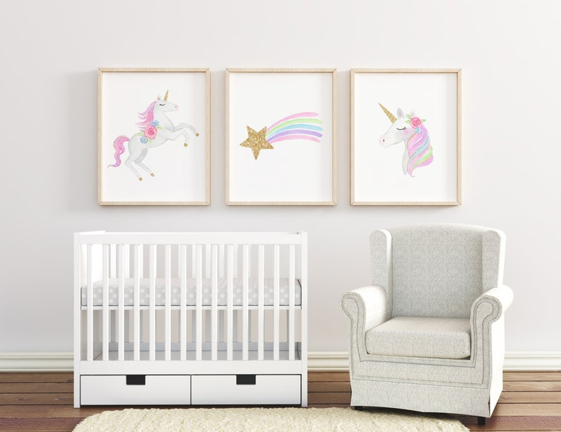 Set of 3 Unicorn Wall Art Printables Girls Room Wall Art image 0