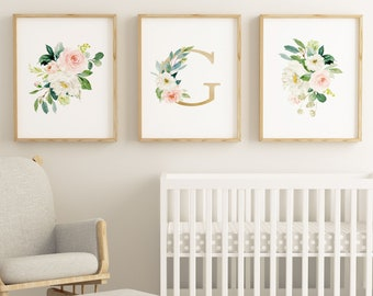 Set of 3 Letter G Floral Watercolor Wall Printables, Girls Gold Letter G, Nursery Floral Prints, Watercolor Flowers, Floral Bouquets Prints