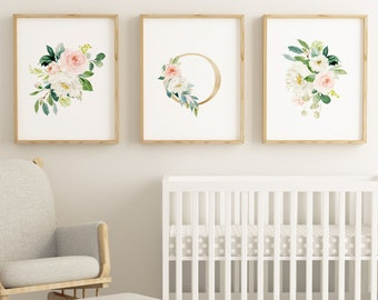 Set of 3 Letter O Floral Watercolor Wall Printables, Girls Gold Letter O, Nursery Floral Prints, Watercolor Flowers, Floral Bouquets Prints