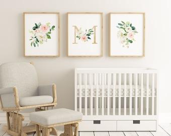 Set of 3 Letter M Floral Watercolor Wall Printables, Girls Gold Letter M, Nursery Floral Prints, Watercolor Flowers, Floral Bouquets Prints
