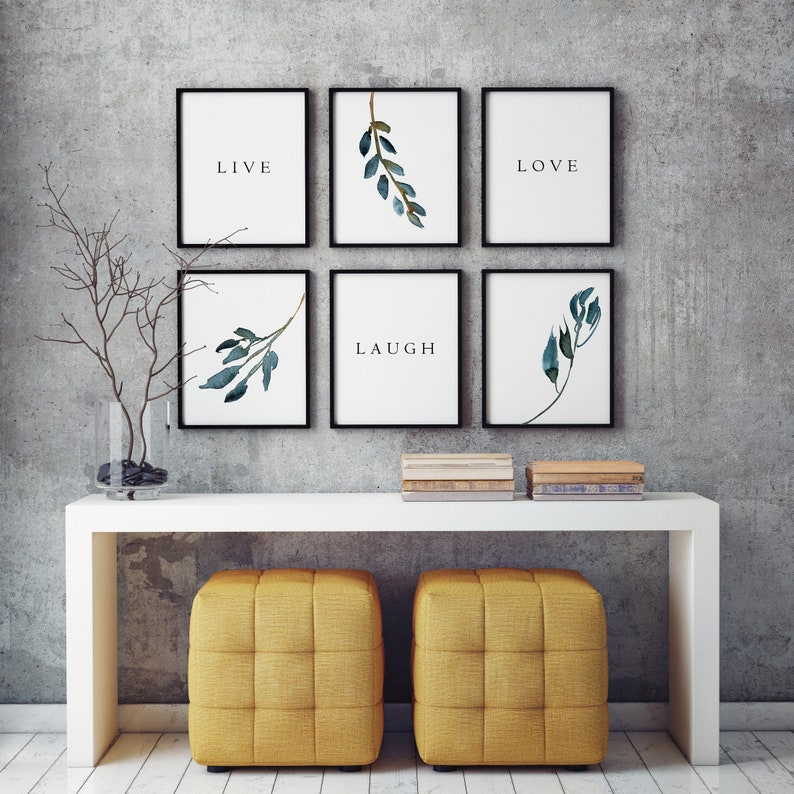 Live Love Laugh Wall Art Printables Laurel Leaves Wall Decor Etsy