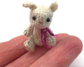 1 1/4 inch miniature crocheted bunny made from thread