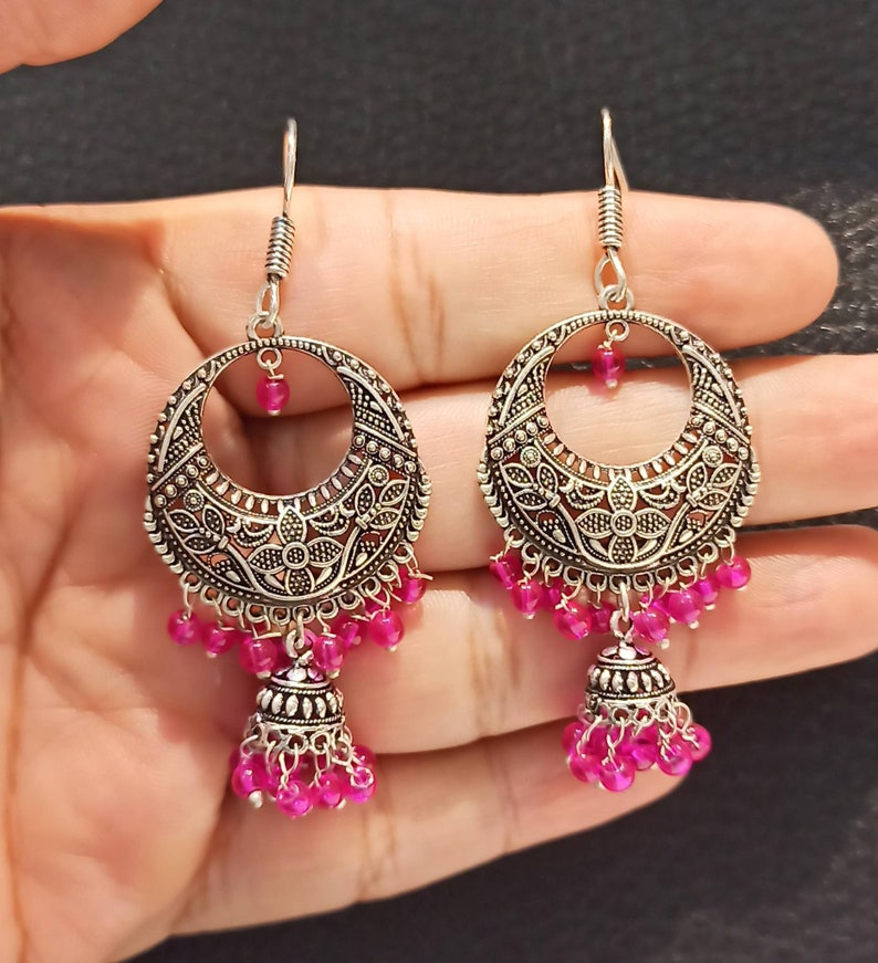 Jhumkas Earrings Bollywood Oxidized Earrings,Pink Beads Indian Oxidized Jhumkas Earrings,Ethnic Earrings,Oxidized Earrings