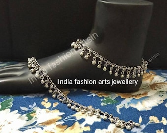 Trendy indian Oxidized Anklets Feet Bracelet, Ankle Chain Noisy Sounds bells, Traditional Indian Anklet Pair
